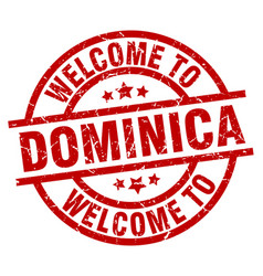 welcome to dominica red stamp vector image vector image