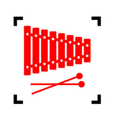xylophone sign red icon inside black vector image