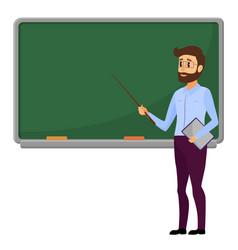 young teacher standing in front of blank school vector image vector image