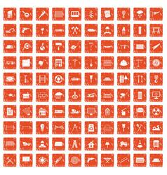 100 building materials icons set grunge orange vector