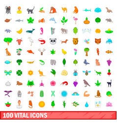 100 vital icons set cartoon style vector image