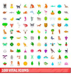100 vital icons set cartoon style vector