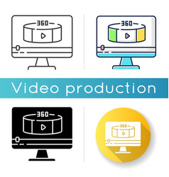 360 degree view video icon vector