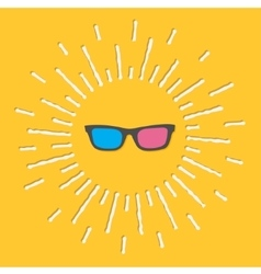 3d glasses icon shining effect dash line yellow vector
