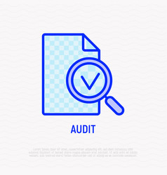 audit line icon magnifier with mark on document vector image