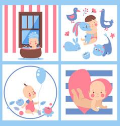 Baby shower boy girl invite design vector