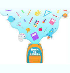 back to school banner backpack with study vector image