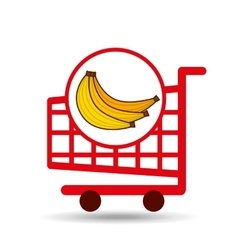banana ecommerce shopping cart graphic vector image