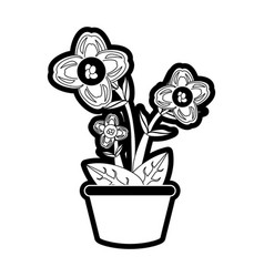 beautiful flowers in a pot icon vector image