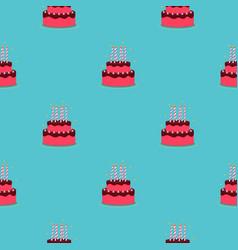 birthday cake seamless pattern background vector image