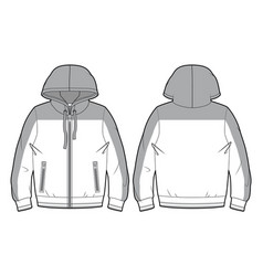 blank hooded sports sweatshirt with zip closure vector image
