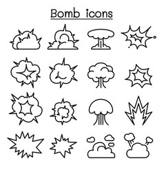 Bomb explosion icon set in thin line style vector