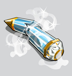 broken glass box in the shape of a pencil isolated vector image