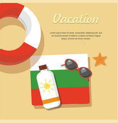 bulgaria tourism lifebuoy in the sand with towel vector image