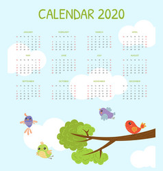 calendar 2020 monthly calendar with cute colorful vector image