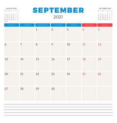 Calendar planner for september 2021 week starts vector
