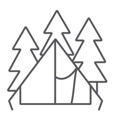 Camping tent thin line icon travel and tourism vector