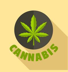 cannabis leaf logo flat style vector image