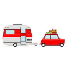 car and caravan vector image