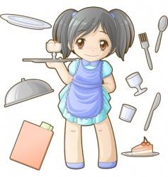 chibi professions sets waitress vector image