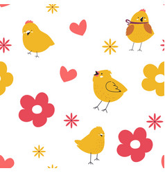 chirping bird or small chicken hearts and flowers vector image