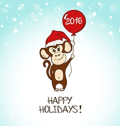 Christmas Greeting Card With Monkey Holding The vector