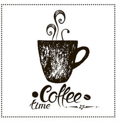 coffee time vintage stylized lettering vector image