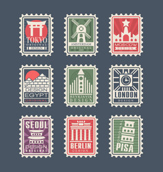 collection postage stamps cities world vector image