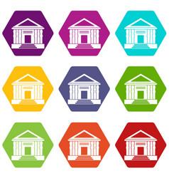 colonnade icon set color hexahedron vector image