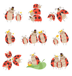 Cute happy ladybug family set cheerful mother vector