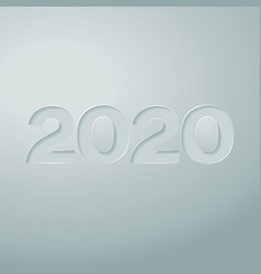 digits 2020 cut out on paper with a gray vector image