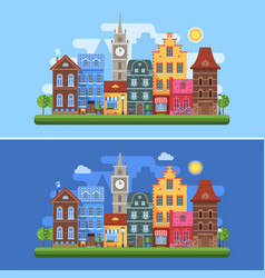 Europe spring city banners vector
