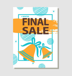final sale promo poster with two golden bells vector image
