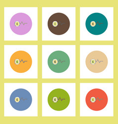 Flat icons set of progress statistics and currency vector