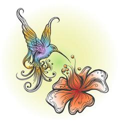 Flying hummingbird in tattoo style vector