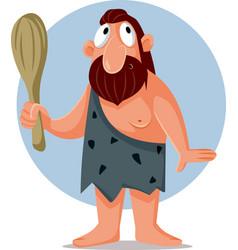 Funny cartoon caveman holding a bat vector