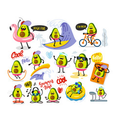 funny cute avocado large set with text vector image