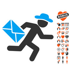 gentleman mail courier icon with love bonus vector image