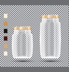Glass jars on transparent background vector