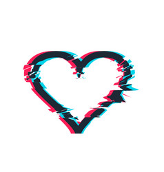 Glitch distortion frame heart vector