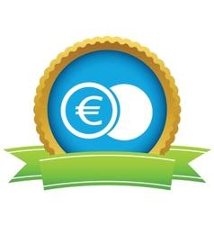 Gold euro coin logo vector image