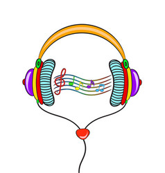 hand drawn comic headphones and color notes on vector image
