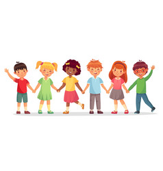 happy kids team multinational childrens school vector image