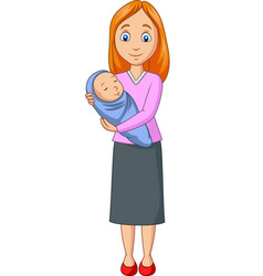 happy mother carrying newborn bawrapped in blue vector image