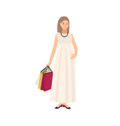 happy pregnant woman wearing dress and carrying vector image