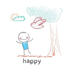 happy vector image
