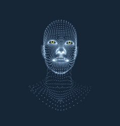 head of the person from a 3d grid face design vector image