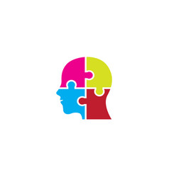 Head puzzle in brain for logo design colors vector