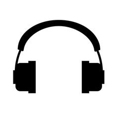 headphones icon black symbol silhouette vector image