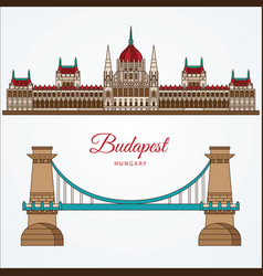 hungarian parliament building and chain bridge vector image
